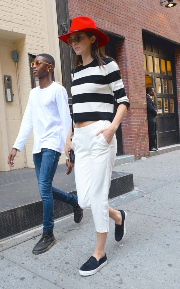 <p>September 04, 2014</p> <p>Kendall Jenner visits Soho with a friend.</p>