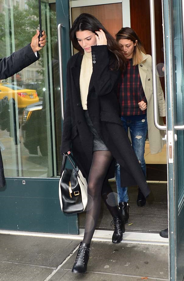 <p>October 23, 2014</p> <p>Kendall Jenner is seen leaving her hotel in Soho.</p>