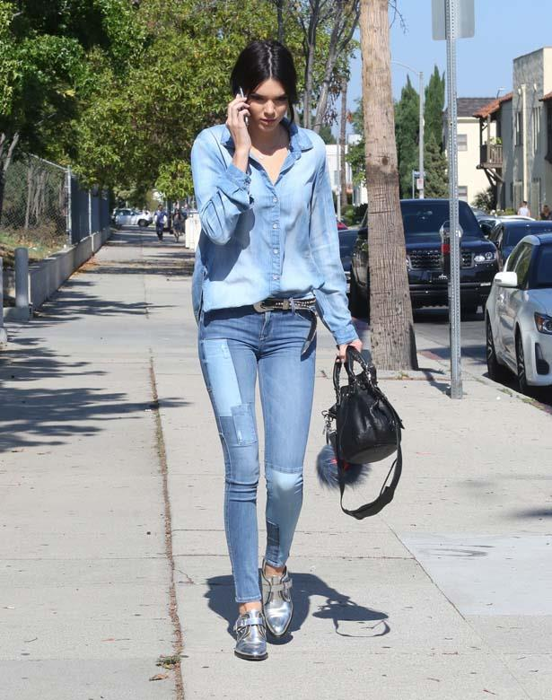 <p>June 14, 2015</p> <p>Kendall Jenner is sporting double-denim in Los Angeles.</p>