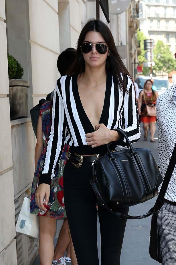 <p>June 26, 2015</p> <p>Kendall Jenner wearing Balmain while out in Paris.</p>