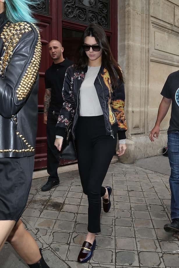 <p>May 20, 2014</p> <p>Kendall Jenner is seen leaving Kim Kardashian's appartment in Paris.</p>