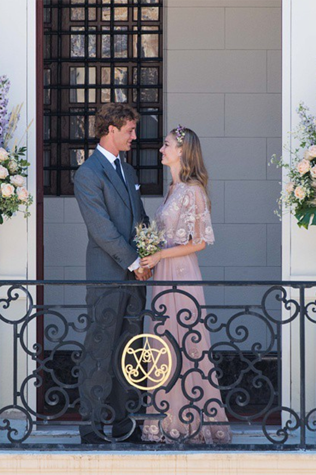 Beatrice Borromeo wore pale pink Valentino and flowers in her hair for marriage to Pierre Casiraghi — currently 7th in line of Monaco's succession. The civil ceremony was attended by Casiraghi's uncle Prince Albert and the groom's mother Princess Caroline. The couple will have a religious ceremony in Italy next week.