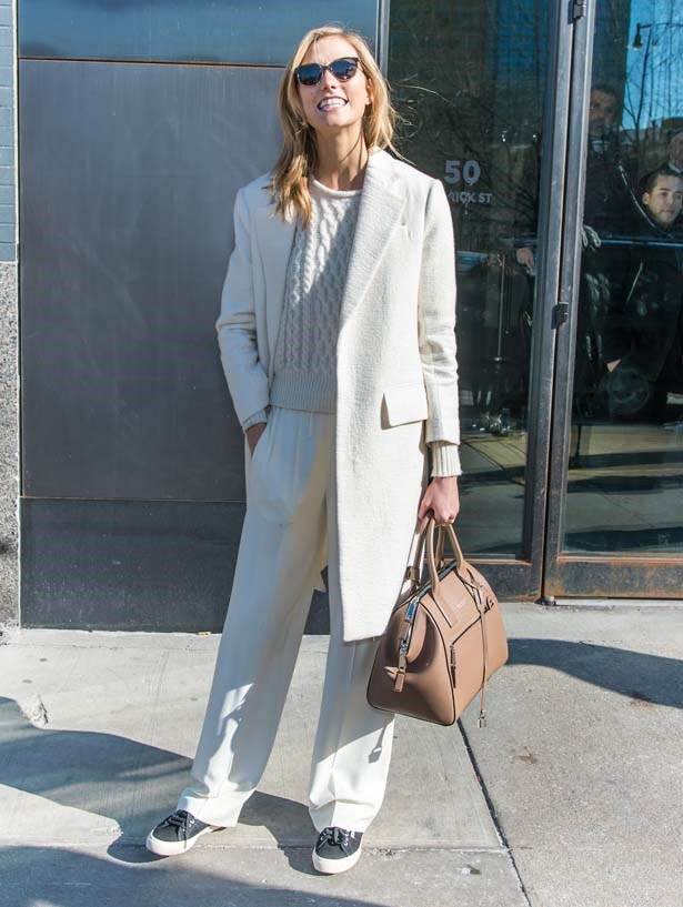 All white is not for the faint hearted, Kloss doesn't seem to mind.