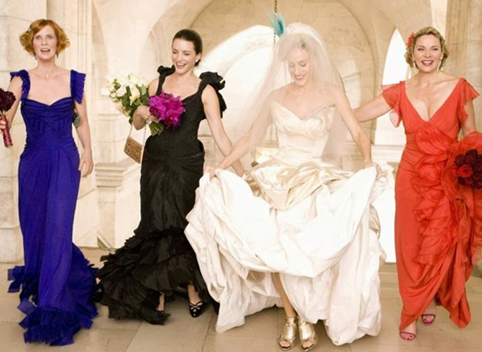 The only thing not terrible about Carrie Bradshaw's ill-fated wedding to Big in the first SATC movie was her Vivienne Westwood dress. We're including the bird she wore on her head in the terrible things category.