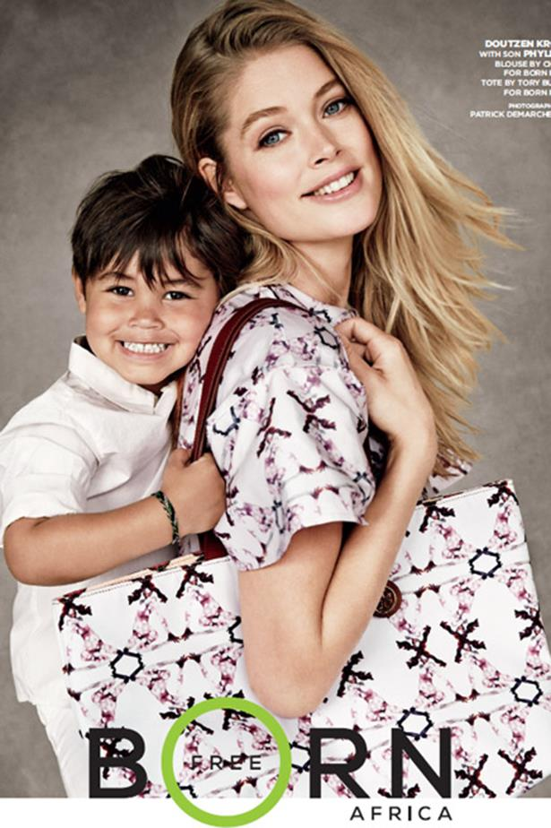 Doutzen Kroes with son, Phyllon, for Born Free.
