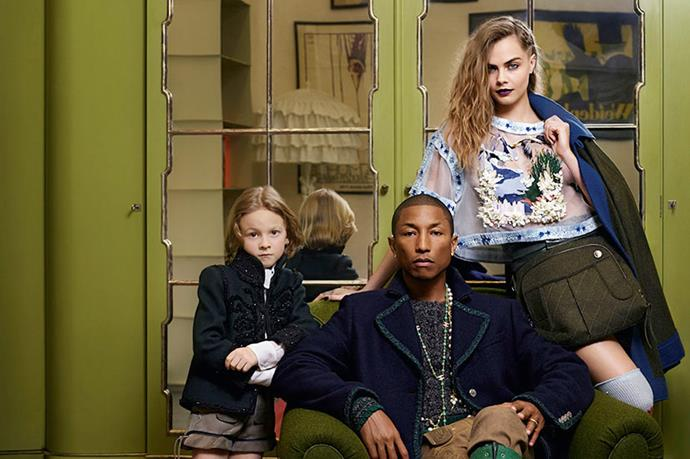 Hudson in his first Chanel campaign with Pharrel Williams and Cara Delevingne.