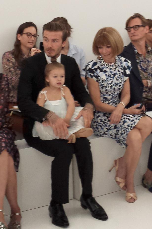Harper Beckham has seen her fair share of fashion shows. (peep that adoring look from Anna).
