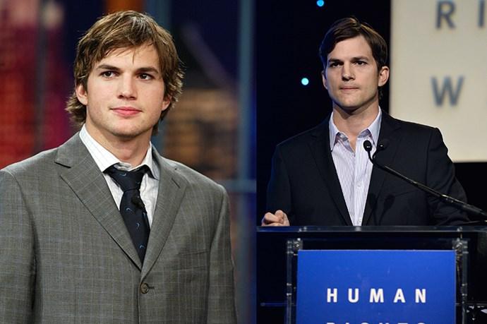 Ashton Kutcher, 2002 and 2013.