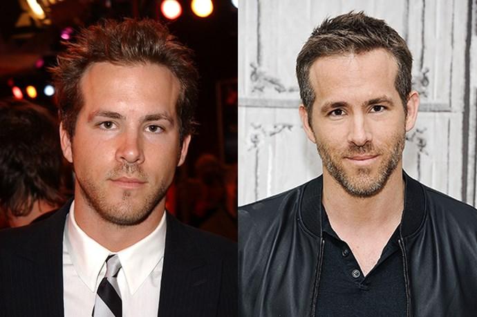 Ryan Reynolds, 2004 and 2015.