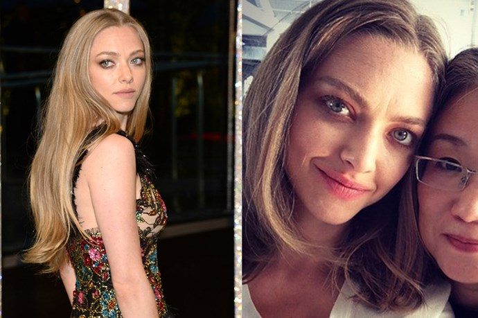 """<p> <strong>Amanda Seyfried</strong></p> <p>Amanda Seyfried has chopped her long mermaid hair into a lob! She unveiled her new 'do on her Instagram in July this year, captioning the photo """"New haircut/old friend #CledeTomoko #cledepeaubeaute @cledepeaubeauteus"""". Gorgeous. </p>"""