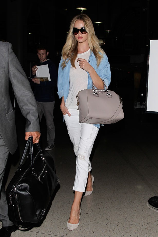 <p>Rosie Huntington-Whiteley loves her Paige Denim Jimmy Jimmy Skinny Jeans and Manolo Blahnik BB Suede Pumps. </p>