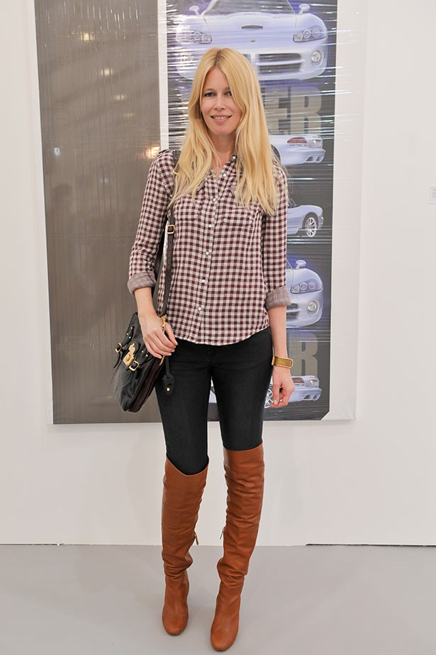 <p>The model styles hers with jeans and a gingham shirt.</p>