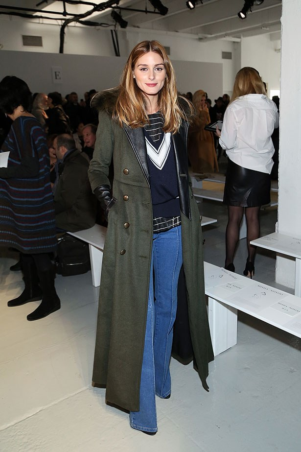 <p>And again with a floor-length khaki coat.</p>