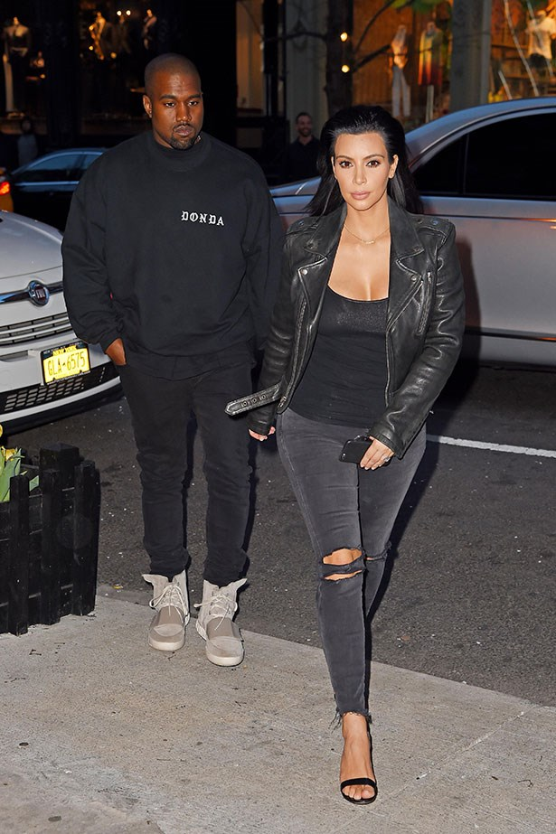 "<p>Kim Kardashian edges-up her usually feminine style with <a href=""https://www.shopbop.com/photoready-cropped-mid-rise-skinny/vp/v=1/1578175776.htm?folderID=2534374302031296&fm=other-shopbysize-viewall&colorId=61257&extid=affprg_CJ_SB_US-3865419-VigLink&cvosrc=affiliate.cj.3865419"">J Brand Photo Ready Cropped Jeans in Mercy</a> and a <a href=""https://www.shopbop.com/leather-jacket-blk-dnm/vp/v=1/845524441934404.htm"">BLK DNM leather jacket</a>.</p>"