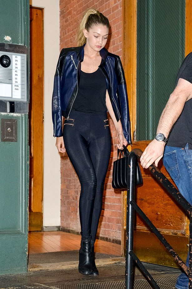 "<p>Supermodel Gigi Hadid wears her <a href=""http://shopplanetblue.com/blue-life-fit-zipper-moto-legging-blk"">Blue Life Fit Leggings</a> out to dinner.</p>"