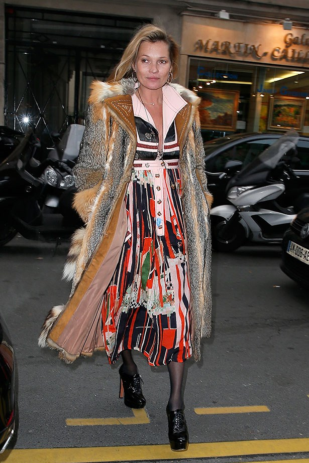 Kate Moss in a floor-length Balmain fur coat, need we say more?