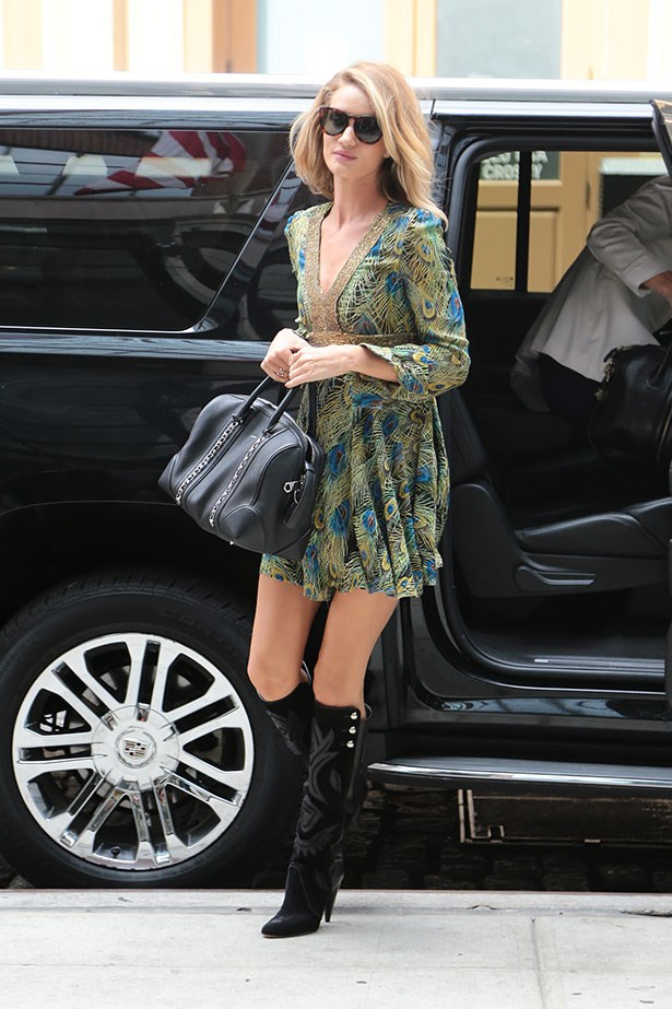 Follow Rosie Huntington-Whiteley and purchase a pair of knee-high boots and style with any dresses you have for an instant 70s look.