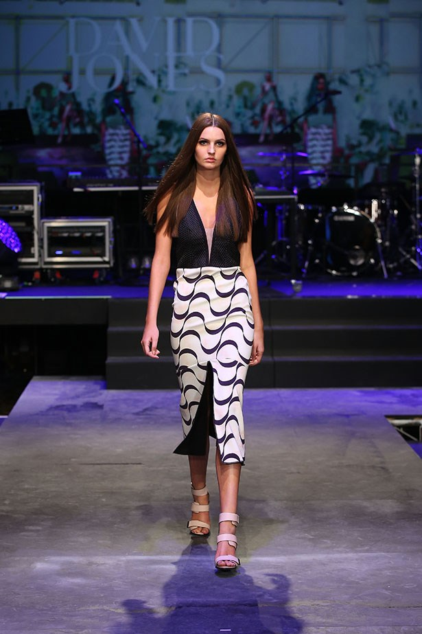 A model showcases designs by Manning Cartell on the runway at the David Jones Spring/Summer 2015 Fashion Launch at David Jones Elizabeth Street Store on August 5, 2015 in Sydney, Australia.  (Photo by Brendon Thorne/Getty Images for David Jones)