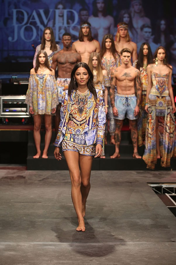 Jessica Gomes showcases designs by Camilla on the runway at the David Jones Spring/Summer 2015 Fashion Launch at David Jones Elizabeth Street Store on August 5, 2015 in Sydney, Australia.  (Photo by Brendon Thorne/Getty Images for David Jones)