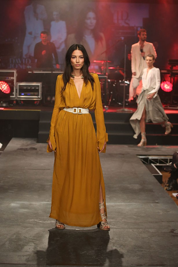 Jessica Gomes showcases designs by KITX on the runway at the David Jones Spring/Summer 2015 Fashion Launch at David Jones Elizabeth Street Store on August 5, 2015 in Sydney, Australia.  (Photo by Brendon Thorne/Getty Images for David Jones)