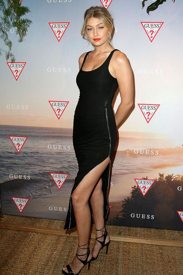 Can't go wrong with a simple black dress? Gigi at an event for Guess in Sydney.