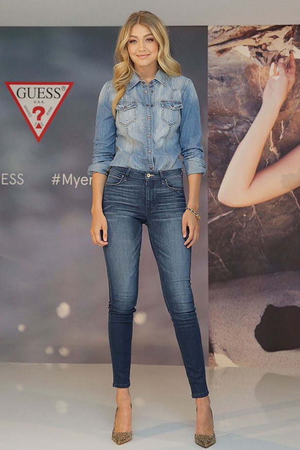Double deniming it like only Gigi can.