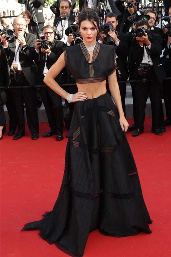 Crop tops can be glamorous and sophisticated too- exhibit A, Kendall Jenner on the Cannes Red Carpet.