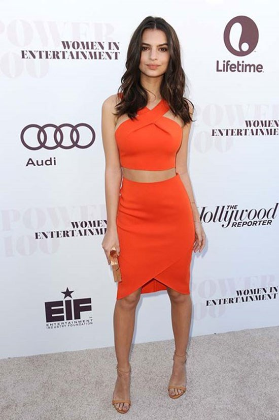 Emily Ratajkowski rocks this matching bright orange set.
