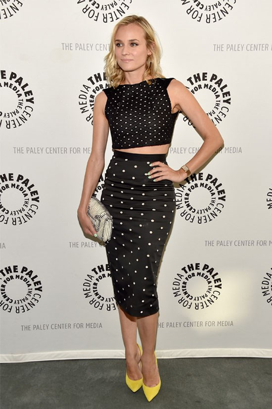 Diane Kruger works a more subtle crop top with a bright statement shoe.