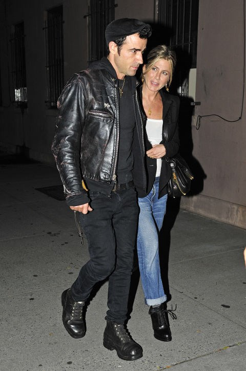 SEPTEMBER 28, 2011 Jackets and jeans with Justin Theroux.