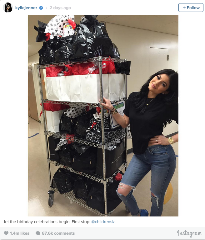 "The reality star kicked things off by giving back. She shared a photo of herself at Children's Hospital L.A. standing next to a tiered cart piled high with goodie bags, writing, ""Let the birthday celebrations begin! First stop: @childrensla"""