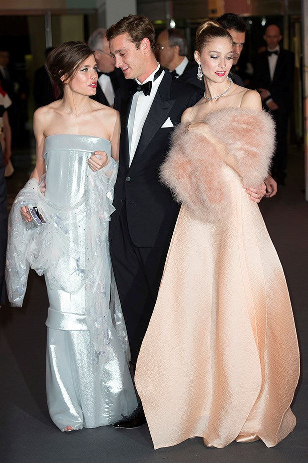 Charlotte Casiraghi, Pierre Casiraghi and Beatrice Borromeo attend the Rose Ball 2014 in aid of the Princess Grace Foundation at Sporting Monte-Carlo on March 29, 2014 in Monte-Carlo, Monaco.  (Photo by Le Palais Princier/Pierre Villard/SBM/PLS Pool/Getty Images)