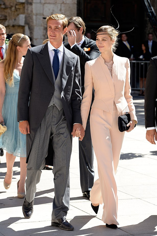Pierre Casiraghi and girlfriend Beatrice Borromeo attend the Religious Wedding Of Prince Felix Of Luxembourg and Claire Lademacher at Basilique Sainte Marie-Madeleine on September 21, 2013 in Saint-Maximin-La-Sainte-Baume, France.  (Photo by Dominique Charriau/WireImage)