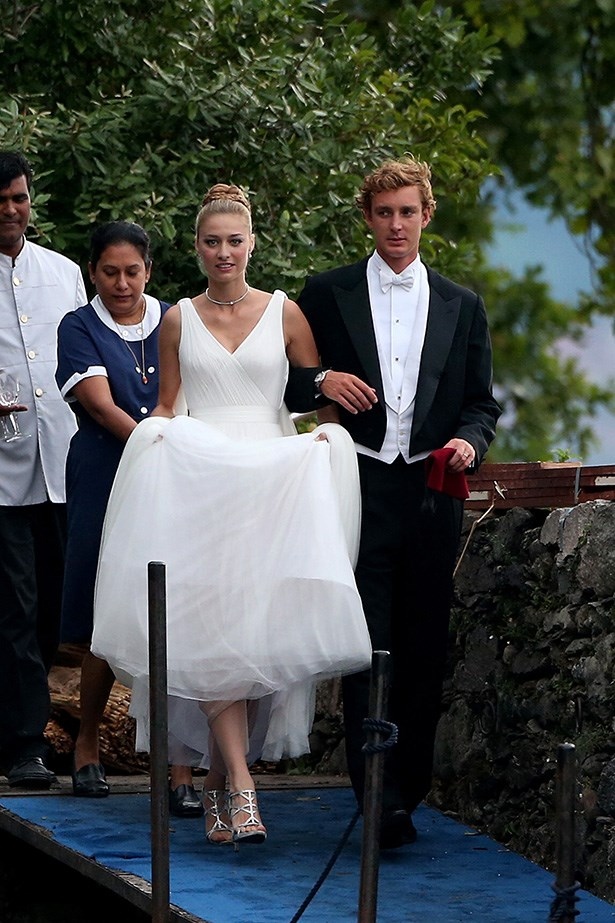 Beatrice 17 Pierre Casiraghi and Beatrice Boromeo leave Isola Madre to attend their wedding party on August 1, 2015 in Stresa, Italy.  (Photo by JacopoR/PierreS/GC Images)