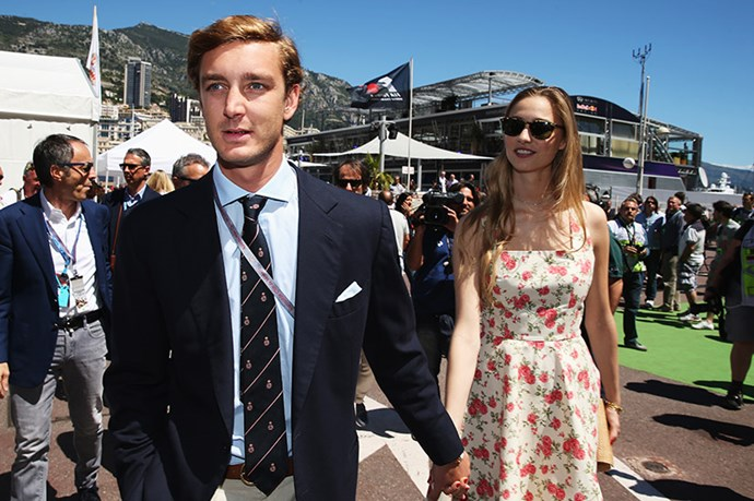 Pierre Casiraghi and girlfriend Beatrice Borromeo arrive in the paddock before the Monaco Formula One Grand Prix at the Circuit de Monaco on May 26, 2013 in Monte-Carlo, Monaco.  (Photo by Mark Thompson/Getty Images)