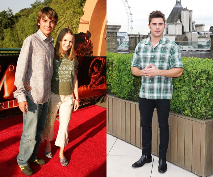 ZAC EFRON <em>Then: </em>With Kay Panabaker at The Revenge Of The Mummy Ride opening on June 24, 2004</p> <p><em>Now:</em> At the London press call for <em>We Are Your Friends</em></p>