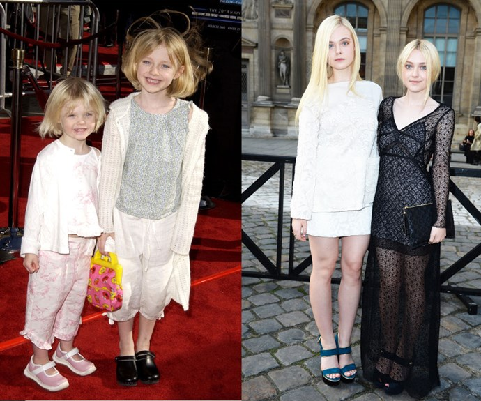 "ELLE AND DAKOTA FANNING <div class=""gallery-slide--paragraph""><p><em>Then:</em> At the 20th Anniversary Premiere of <em>E.T. </em>in 2002</p> <p><em>Now: </em>At the Louis Vuitton show during 2014 Paris Fashion Week</p>"