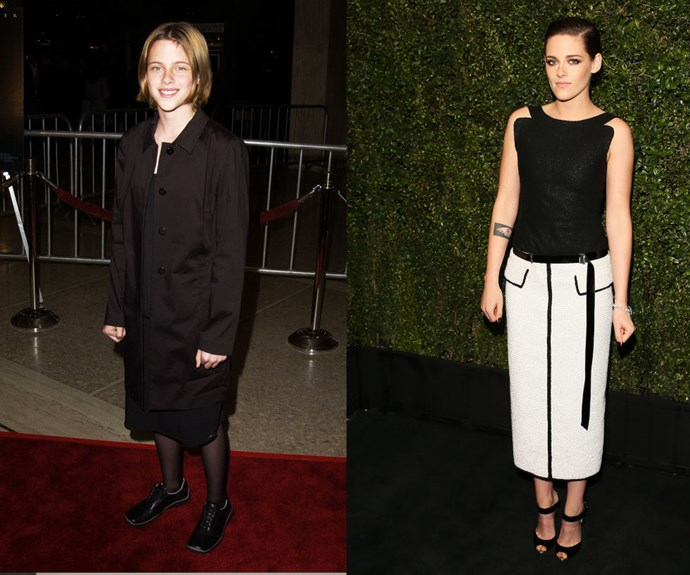 """KRISTEN STEWART <em>Then: </em>At the <em>Panic Room</em> premiere in 2002</p> <p><em>Now: </em><span class=""""redactor-invisible-space"""">At the </span>Chanel And Charles Finch 2015 Pre-Oscar Dinner</p>"""