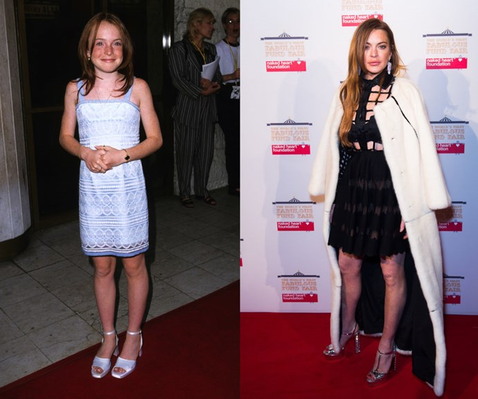 """LINDSAY LOHAN <em>Then: </em>At <em>The Parent Trap</em> premiere in 1998</p> <p><em>Now: </em><span class=""""redactor-invisible-space"""">At an event in London</span></p>"""