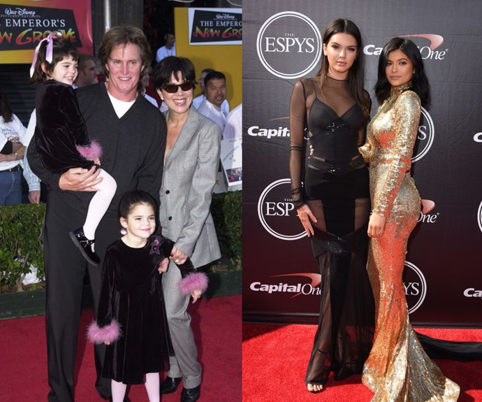"""KENDALL AND KYLIE JENNER <em>Then: </em>At <em>The Emperor's New Groove</em> premiere in 2002</p> <p><em>Now: </em><span class=""""redactor-invisible-space"""">At the 2015 ESPY Awards</span></p>"""