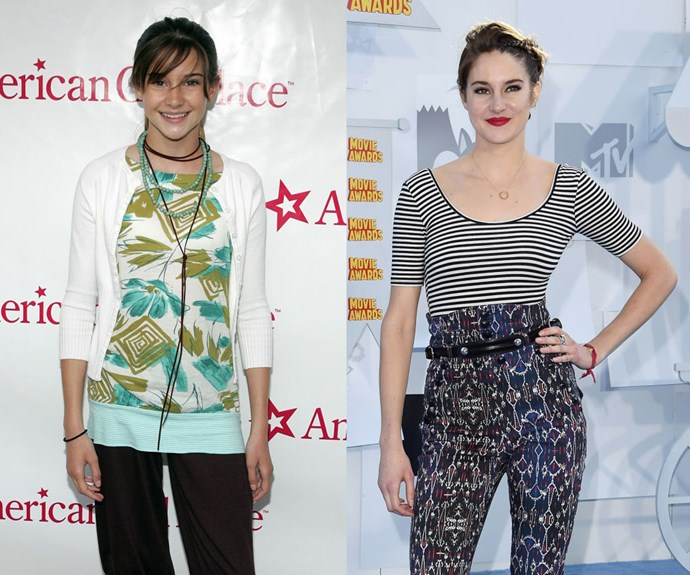 """SHAILENE WOODLEY <em>Then: </em>At the American Girl Store opening in 2006</p> <p><em>Now: </em><span class=""""redactor-invisible-space"""">At the 2015 MTV Movie Awards</span></p>"""
