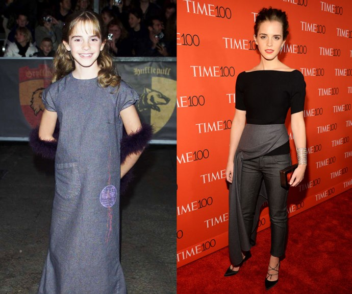 EMMA WATSON <em>Then: </em>At the <em>Harry Potter and the Sorcerer's Stone</em> premiere in 2001<em></em></p> <p><em>Now: </em>At the 2015 TIME 100 Most Influential People In The World </p>