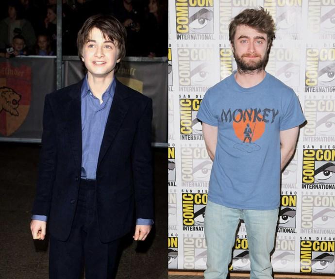 DANIEL RADCLIFFE <em>Then:</em> At the <em>Harry Potter and the Sorcerer's Stone</em> premiere in 2001</p> <p><em>Now:</em> At Comic Con in July</p>