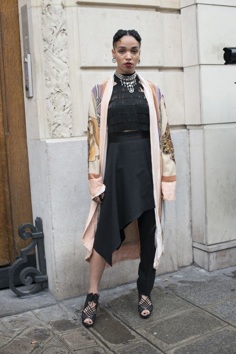 <strong>JANUARY 22, 2014</strong> <BR> Wearing a vintage kimono, Jean Paul Gaultier dress and jewelry, and Nicholas Kirkwood shoes in Paris.