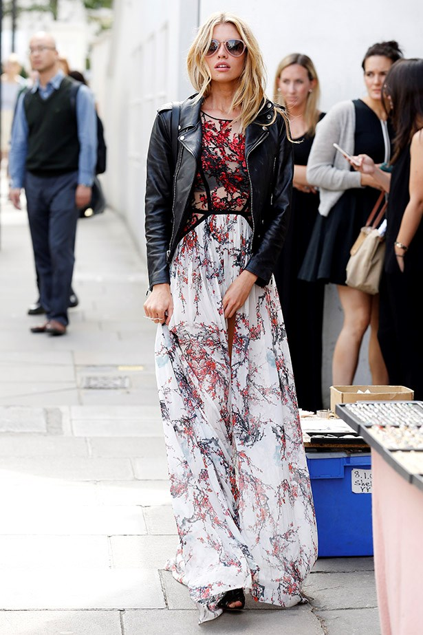 The leather jacket toughens up Stella's pretty floral maxi.