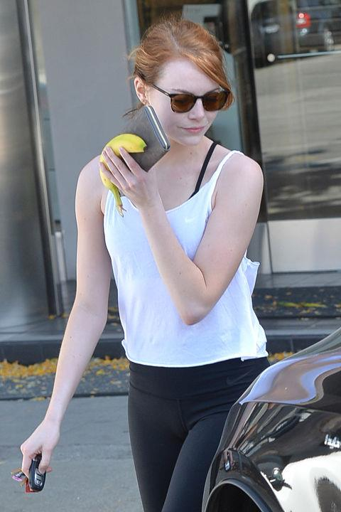 """<strong>EMMA STONE</strong> <BR> """"I had a trainer during Spider-Man and I discovered I have deep-seated rage when I'm holding heavy weights over my head. Whatever dormant anger I have in me, that's where it comes out. That's not the kind of working out I want to do. I would much rather sleep at night than want to throw a weight across a room at someone. I'm usually a pretty peaceful person, but for some reason when I get in the gym something bubbles up in me.... I haven't worked out for a month and I'm proud of it!"""" <BR> —to <em>S</em> Magazine in 2012"""