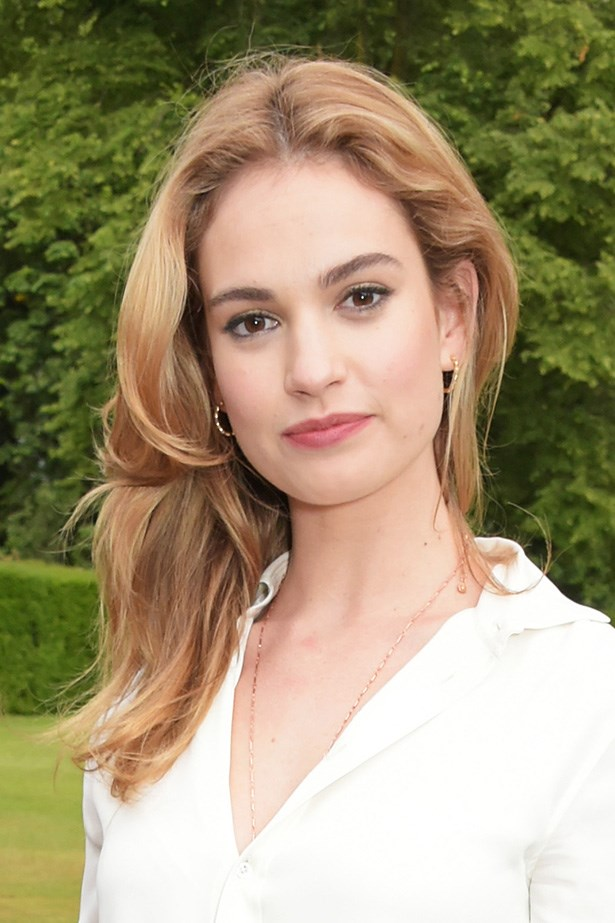 <strong>Lily James' </strong>lighter highlights perfectly accompany her warm strawberry blonde hair.