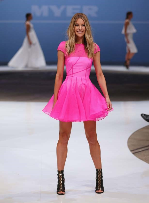 Jennifer Hawkins opened the show in Alex Perry