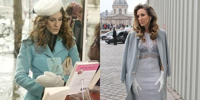 POWDER BLUE COAT AND WHITE GLOVES TWINS HBO; GETTY