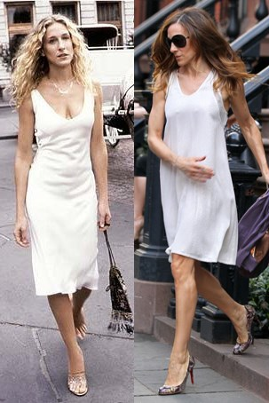 SIMPLE WHITE DRESS TWINS HBO; GETTY